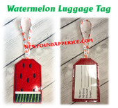 In The Hoop Watermelon Luggage Tag Embroidery Machine design