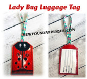 In The Hoop Lady Bug Luggage Tag Embroidery Machine Design