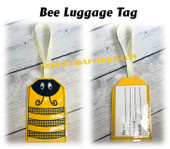 In The Hoop Bee Luggage Tag Embroidery Machine Design