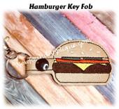 In The Hoop Hamburger Key Fob Embroidery Machine Design