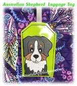 In The Hoop Australian Shepherd Luggage Tag Embroidery Machine design