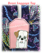 In The Hoop Boxer Luggage Tag Embroidery Machine Design