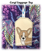 In The Hoop Corgi Luggage Tag Embroidery Machine Design
