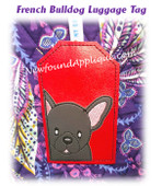 In The Hoop French Bulldog Luggage Tag Embroidery Machine Design