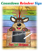 In The Hoop Reindeer Countdown Sign Embroidery Machine Design
