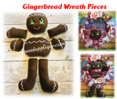 In The Hoop Gingerbread Wreath  Embroidery Machine Design Pieces
