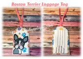 In The Hoop Boston Terrier Luggage Tag Embroidery Machine Design