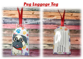 In The Hoop Pug Luggage Tag Embroidery Machine Design