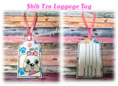 In The Hoop  Shih Tzu Luggage Tag Embroidery Machie Design