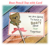 In The Hoop Bear Pencil Topper w Card Embroidery Machine design
