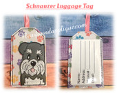 In The Hoop Schnauzer Luggage Tag Embroidery Machine Design