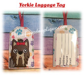 In The Hoop Yorkie Luggage Tag Embroidery Machine Design