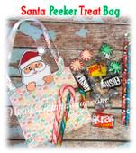 In The Hoop Santa Peeker Treat Bag Embroidery Machine Design