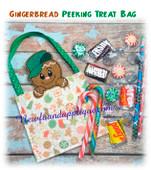 In The Hoop Gingerbread Peeker Treat Bag Embroidery Machine Design