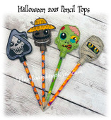 In The Hoop Halloween 2021 Pencil Topper Embroidery Machine Design Set