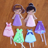 Felt Princess Dress up Doll ITH Design Set
