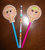 Gingerbread Faces Pencil Topper In The Hoop Set