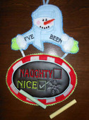 Snowman Naughty or Nice Door Sign In the Hoop Design