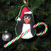 Penguin Candy Cane Holder Ornament Design
