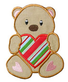 Valentine Bear Holding Heart Applique Design