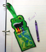 Dino Rex Crayon Pouch In the Hoop Design