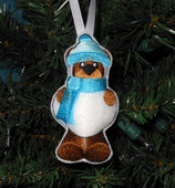 In The Hoop Christmas Bear Snowman Ornament Embroidery Machine Design