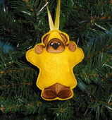 In The Hoop Christmas Bear Star Ornament Embroidery Machine design