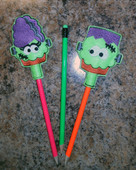 In The Hoop Halloween Pencil Toppers Mr. & Mrs.Frankenstein Embroidery machine designs