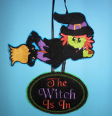 In The Hoop Halloween Witch Door Sign Embroidery Machine Design