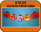 In The Hoop Halloween Pumpkin Banner Embroidery Machine Design