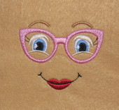 Doll Face Girl with Pink Glasses Embroidery Machine Design