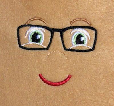 Doll Face Boy With Glasses Embroidery Machine Design Newfound Applique