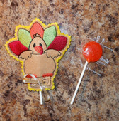 In The Hoop Turkey Lollipop Holder Embroidery Machine Design