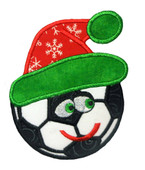 Happy Christmas Socer Ball Applique Embroidery Machine Design