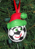 In The Hoop Christmas Soccer Ball Ornament Embroidery Machine Design