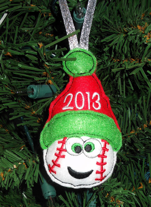 In The Hoop Christmas Baseball Ornament Embroidery Machine Design ...