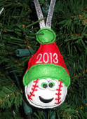 In The Hoop Christmas Baseball Ornament Embroidery Machine Design