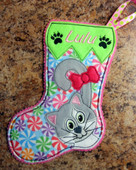 IN The Hoop Cat Christmas Stocking 2 Embroidery Machine Design