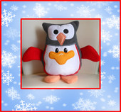 """In The Hoop Penguin Stuffy With Owl Hat Embroidery Machine Design for 8""""x10"""" Hoop"""