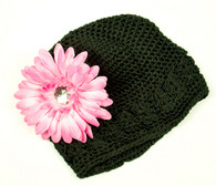 Black Crochet Cap / Pink Flower