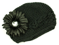 Black Crochet Cap /Black Flower