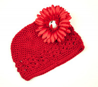 Red Crochet Cap / Red Flower