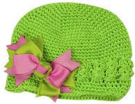 Mint Green Crochet Cap /  Bow