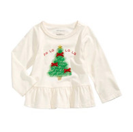 First Impressions Baby Girls Tulle Tree-Print Peplum T-Shirt