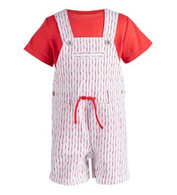 First Impressions Red Shibori Shortalls Set