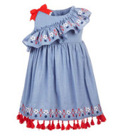 Blueberi Boulevard Embroidered Tassel Chambray Dress