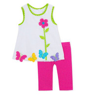Rare Editions Flower And Butterfly Tunic & Leggings Set
