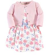 Organic Cotton Dress & Cardigan Set - Pink Rose