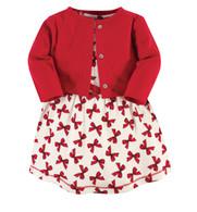 Organic Cotton Dress & Cardigan Set - Bows