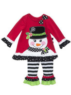 Little Girls Snowman w Top Hat Applique Holiday Pant Set